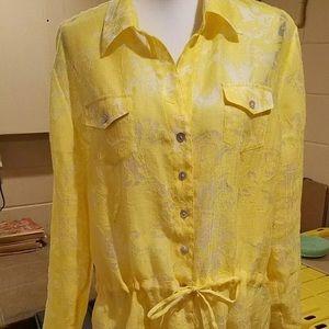 Chico's blouse, yellow/white, XL, GUC